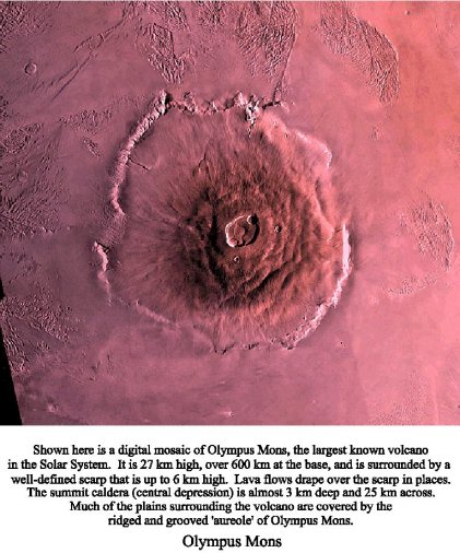 "pictures of volcanoes on mars. Figure 7 is a photo of Olympus Mons, in the ""Serene"" Hemisphere of Mars."